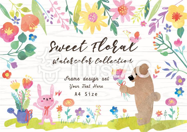 お花と動物の水彩フレームセット A4イラスト No 1067852無料