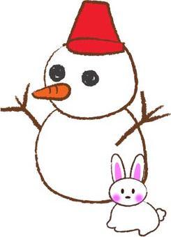 Snowman and Snow rabbit