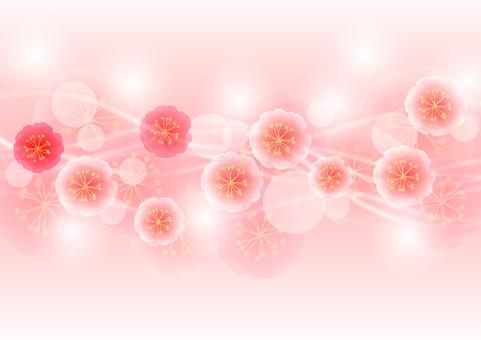 복숭아 꽃과 유선의 호와 호와 배경