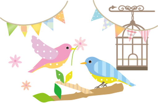 Birds and flags, cages and balloons