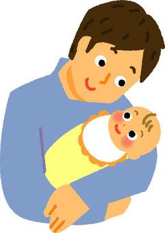 爸爸抱著一個嬰兒