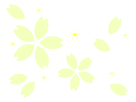 Green cherry blossoms background