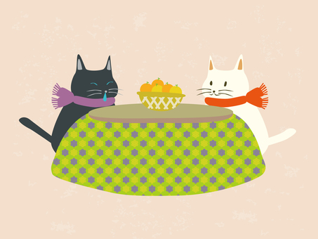Friendly kotatsu cat