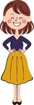 Smile plain clothes young woman waist