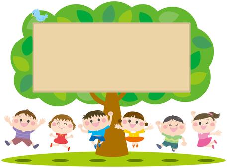 Kids jumping wooden frame