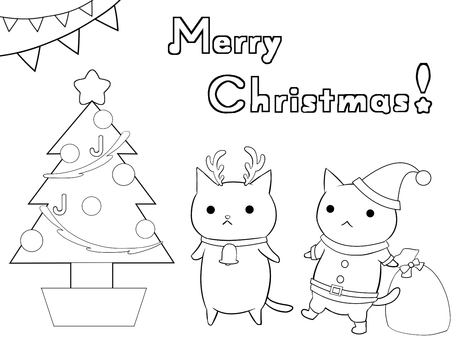 Cat cat Christmas (line drawing)
