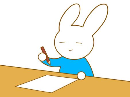 鉛筆を持ったウサギ
