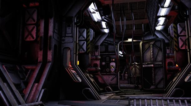 荒れた宇宙船内通路