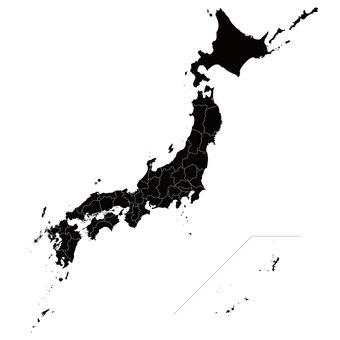 日本地図 白黒 都道府県(県境透過)