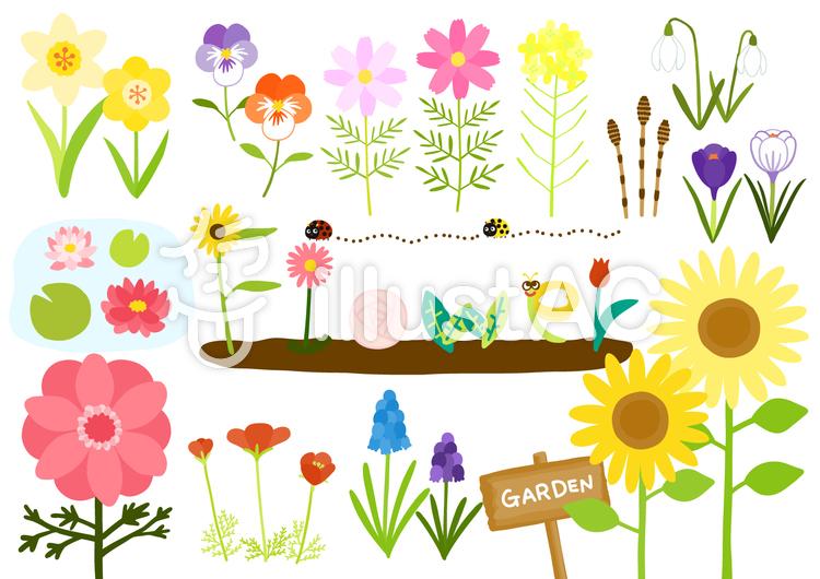ほっこりかわいい花の庭セットイラスト No 1070341無料イラストなら