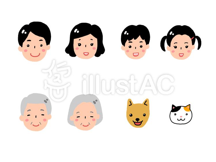 家族とペット(顔)のイラスト