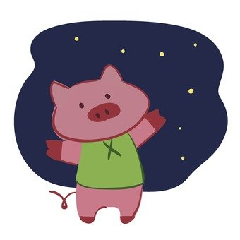 Pig and starry sky