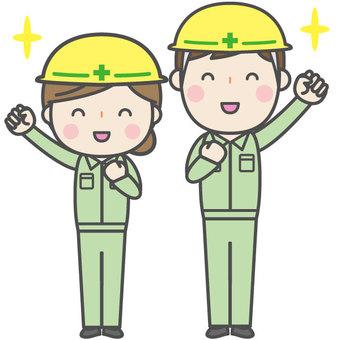 Cute men and women workers pair