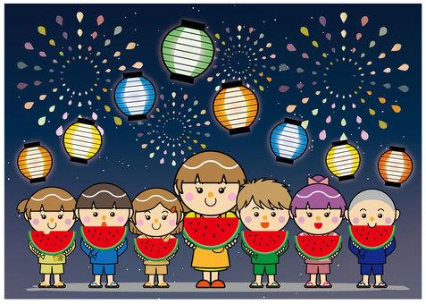 Summer greeting card 02_02 (watermelon, fireworks, festival)