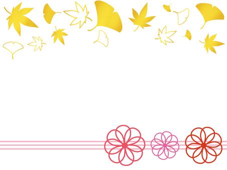 Japanese flower frame autumn leaves