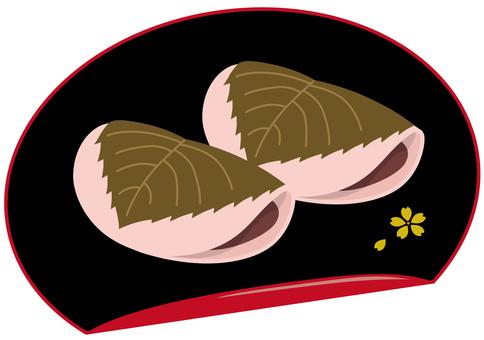 Sakura mochi with lacquerware