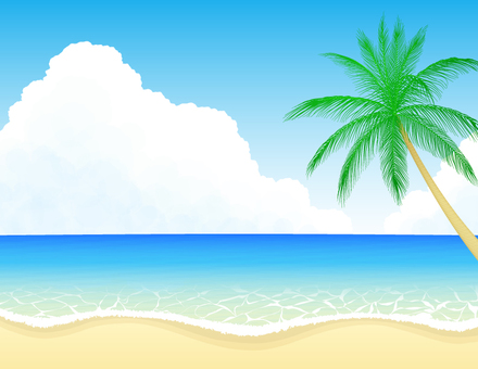Beach and palm tree 1