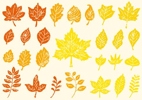 葉っぱ はんこ 秋カラー