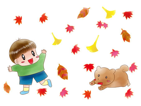 Child and dog autumn