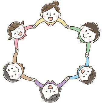 Cute three-generation family circle / hand drawn