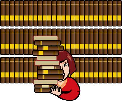 Women and bookshelf
