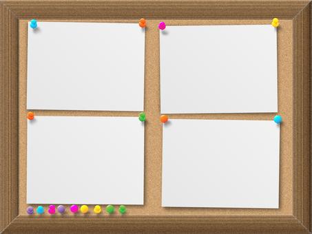 Wood grain frame Cork board and notepad