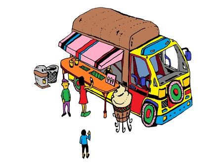 アイス移動販売車/png版背景透明