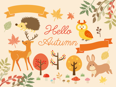 Illustration collection of autumn forest (2)