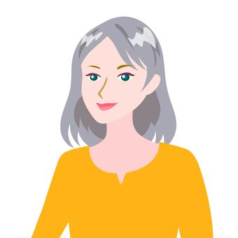 Gray haired woman yellow