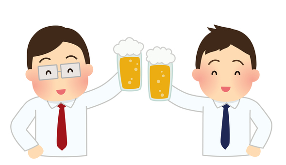 A toasting office worker illustration