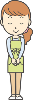 Apron youth long hair -035- whole body