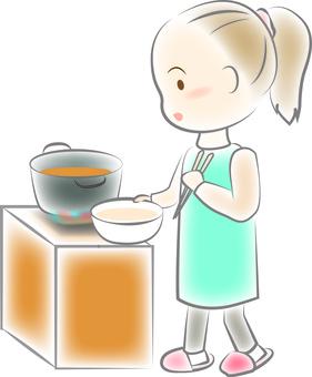 Frying woman