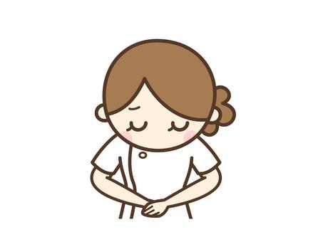 Sorry female nurse _ upper body to bow
