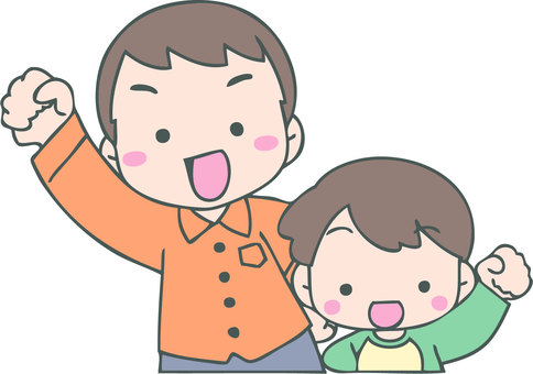 Cheerful parent and child (father and boy)