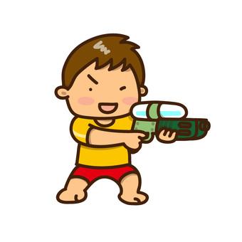 男孩玩水槍男孩獵槍式