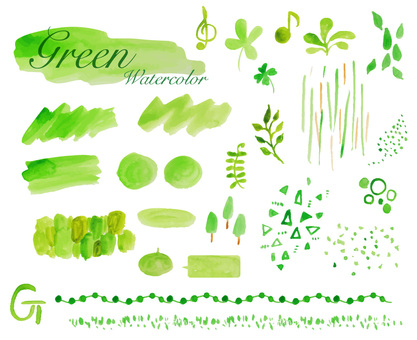 Watercolor material Headline green