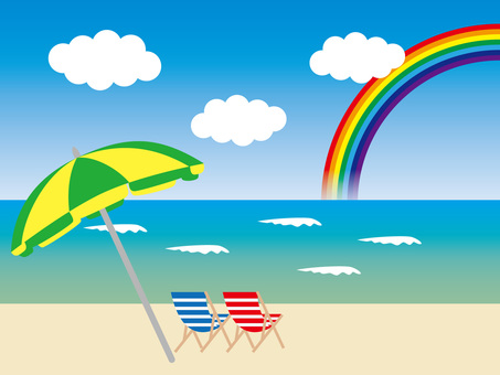 Beach side and rainbow