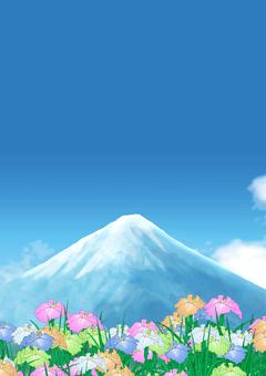Mount Fuji and iris
