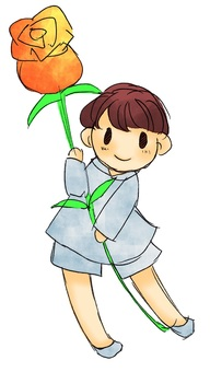 A boy with flowers 4
