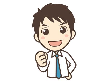 A001_ガッツポーズのネクタイ男
