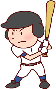 Illustration of a boy holding on a batter box