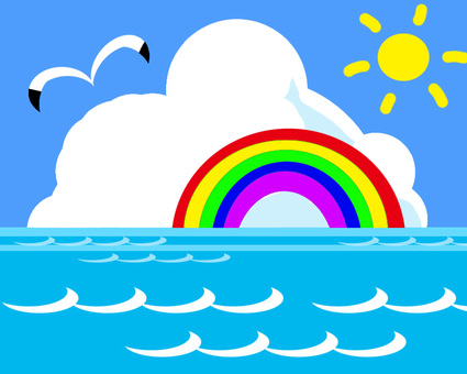 Sea picture with rainbow