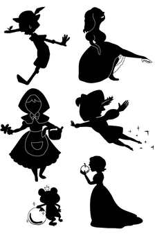 Children's main character silhouette set