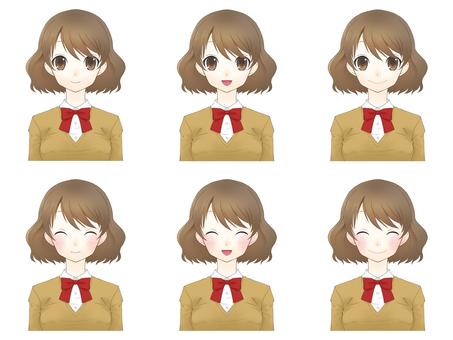 Female facial expression set _ Laugh
