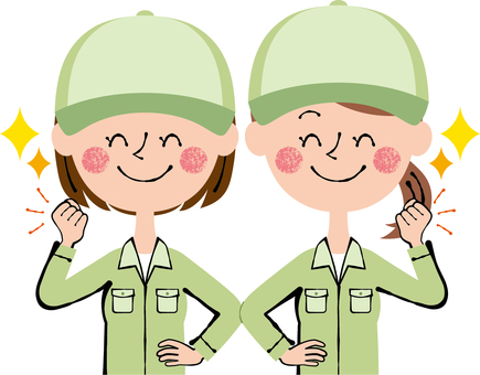 Guts pose worker 2 women hat green smile
