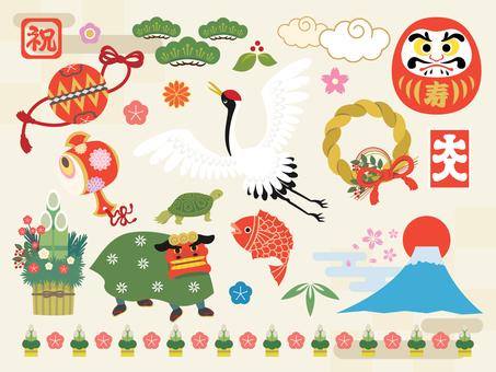 Material de ilustraciones de año nuevo