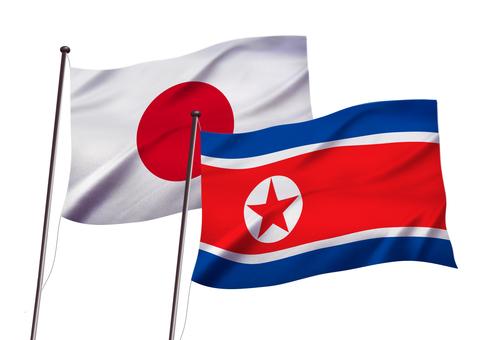 日本と北朝鮮の国旗イメージ