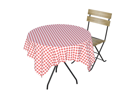 Cafe table and chair (pink)
