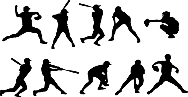 Baseball player _ Silhouette _ Set _ 01 _ Black
