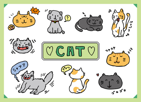 Handwritten wind cat illustration set